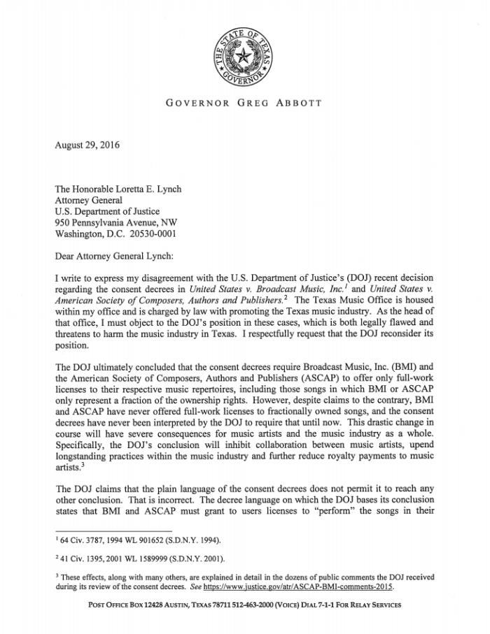 Greg Abbott letter to attorney general lynch